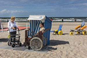 Accessible enjoyment on beaches. On the coast of Mecklenburg-Vorpommern are many accessible beach.
