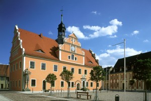 Belgern Town Hall and Roland statue