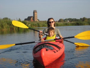 A woman and child canoeing