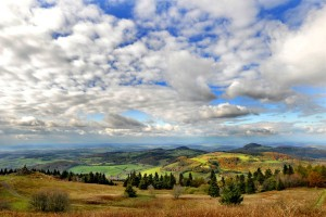 Impressions of autumn under fair-weather clouds with view from Mount Wasserkuppe to the Kuppenrhön hills