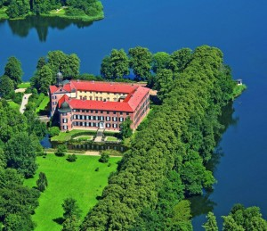 Aerial view of Eutin Castle on the shores of Lake Eutin
