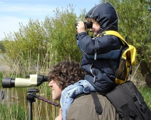 Father and child watching birds through a telescope