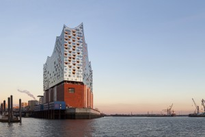 View of the Elbphilharmonie concert hall in Hamburg