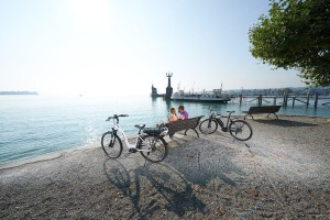 Cyclists at the Lake Constance, Constance