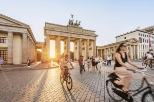 Cyclists at the Brandenburger Gate