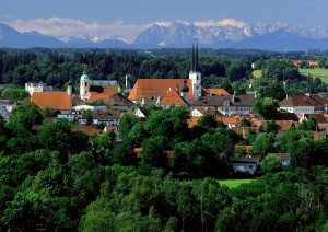 Altötting with the Alps in the background
