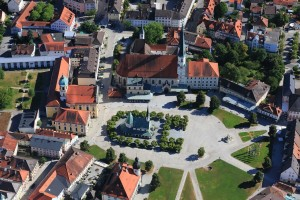 Aerial shot of Altötting, the heart of Bavaria