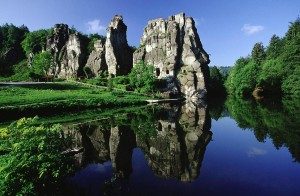 The Externsteine rock formations in Teutoburg Forest