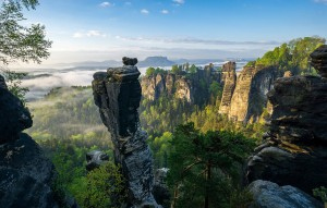 Saxon Switzerland, the Wehlnadel and Bastei rock formations