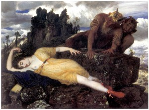 Arnold Böcklin - The sleeping Diana, watched over by two fawns