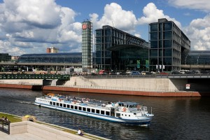 Berlin, main station and pleasure boat