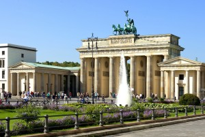Berlin, Brandenburg Gate and flowerbeds