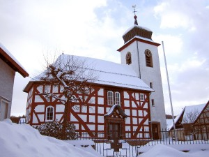 Vogelsberg hills, half-timbered church in Breungesheim