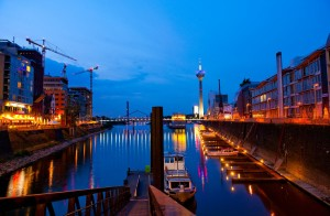 Düsseldorf, Media Harbour at dusk