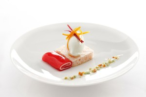 Wasabi and ginger ice cream with Campari and blood orange