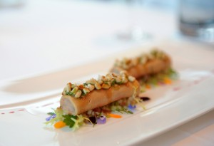 Cannelloni of langostino and goose liver marinated in Beerenauslese wine, with pine nuts and an apple and celery salad