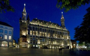 Aachen, townhall by night