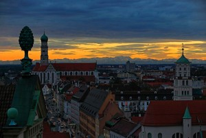 Augsburg: evening shot of Maximilianstrasse with view of the Alps