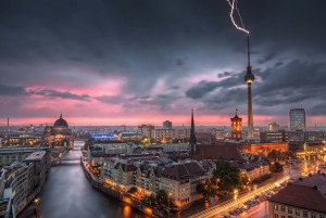 Berlin: Skyline in a Thunderstorm at Alexanderplatz