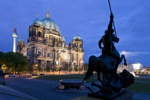 Berlin: Cathedral and television tower by night