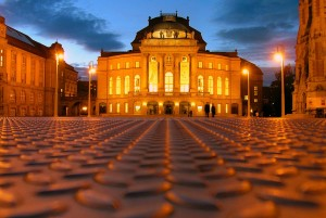 Chemnitz: opera house in the evening