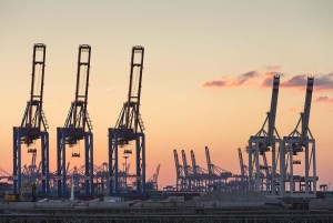 Hamburg: evening shot of cranes in the container port
