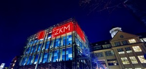 ZKM Centre for Art and Media with the State University of Design, by night