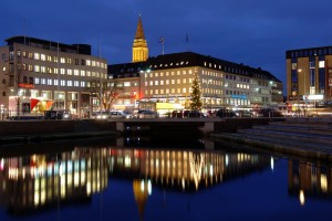 Kiel: Harbour and town hall tower at dusk