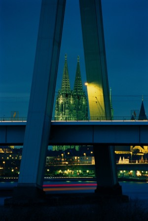 Cologne, Severin Bridge and cathedral