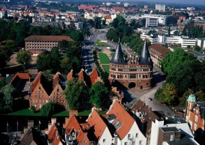 Lübeck, view of the town and Holsten Gate