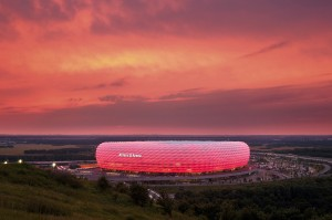 Munich/Isar: Illuminated Allianz Arena, sheep