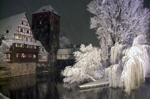 Nuremberg, view of the Weinstadel in winter