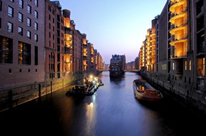 Speicherstadt warehouse district at dusk