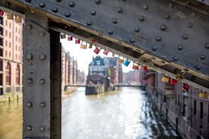 Love locks on a Speicherstadt bridge