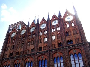 Decorative facade of Stralsund town hall