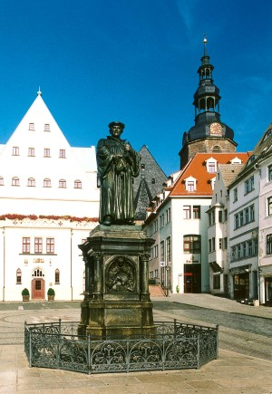 Eisleben, Luther statue in front of the town hall