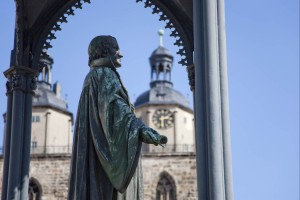 Statue of Melanchthon on the market square in Lutherstadt Wittenberg