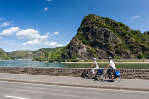 Cycling near the Loreley rock