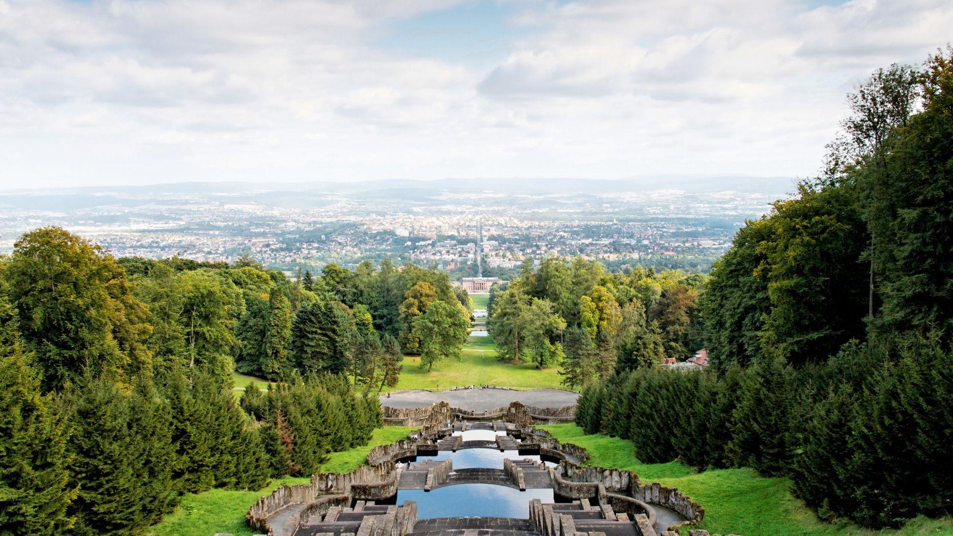 Kassel: View from the cascades in Bergpark Wilhelmshöhe