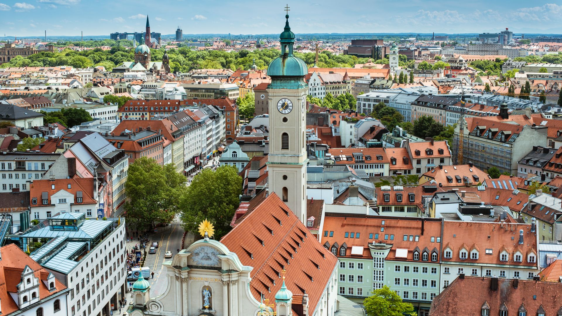 München: Heilig-Geist-Kirche Richtung Viktualienmarkt, Stadtansicht