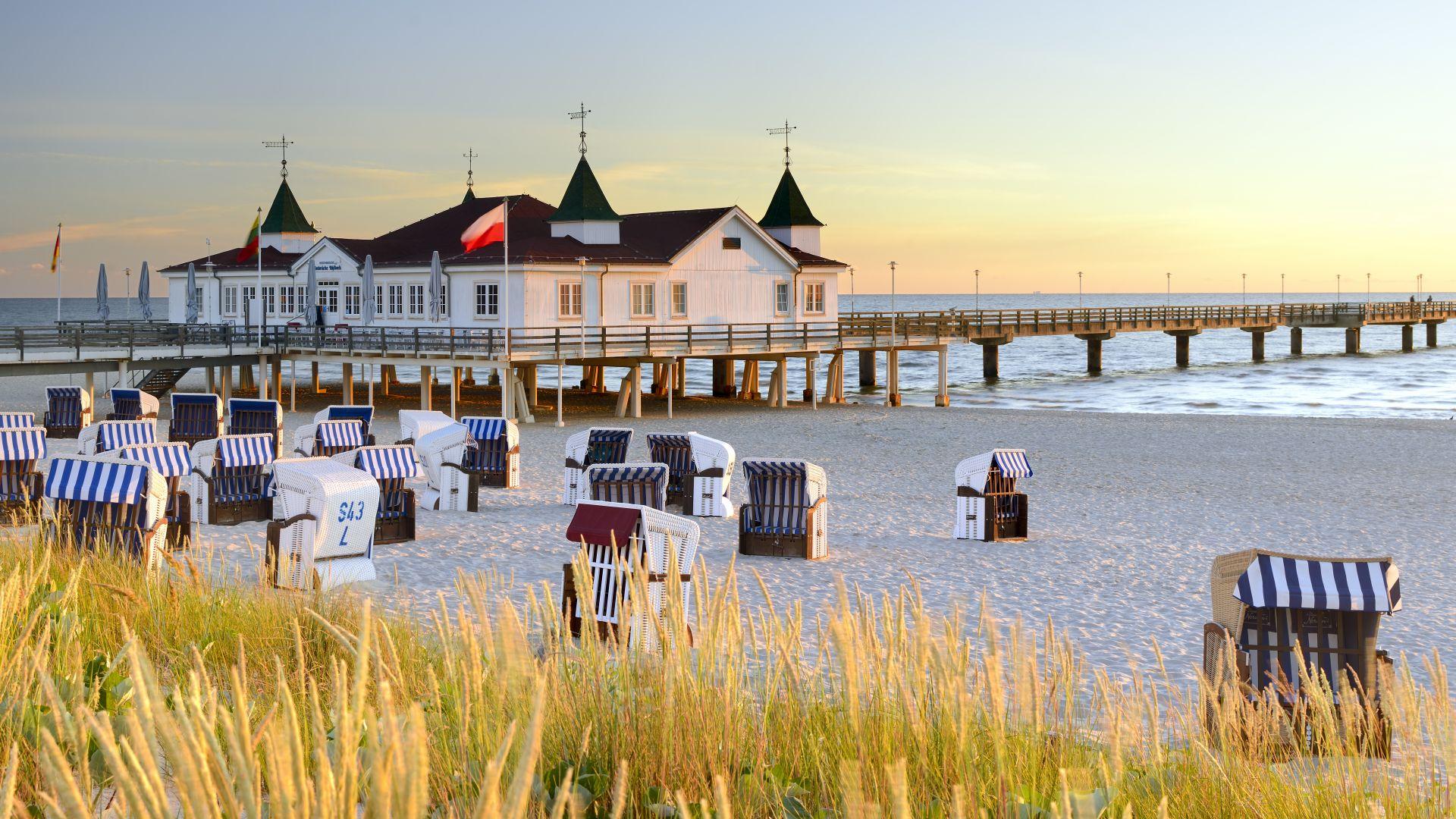 Ahlbeck: jetée sur l'île baltique d'Usedom