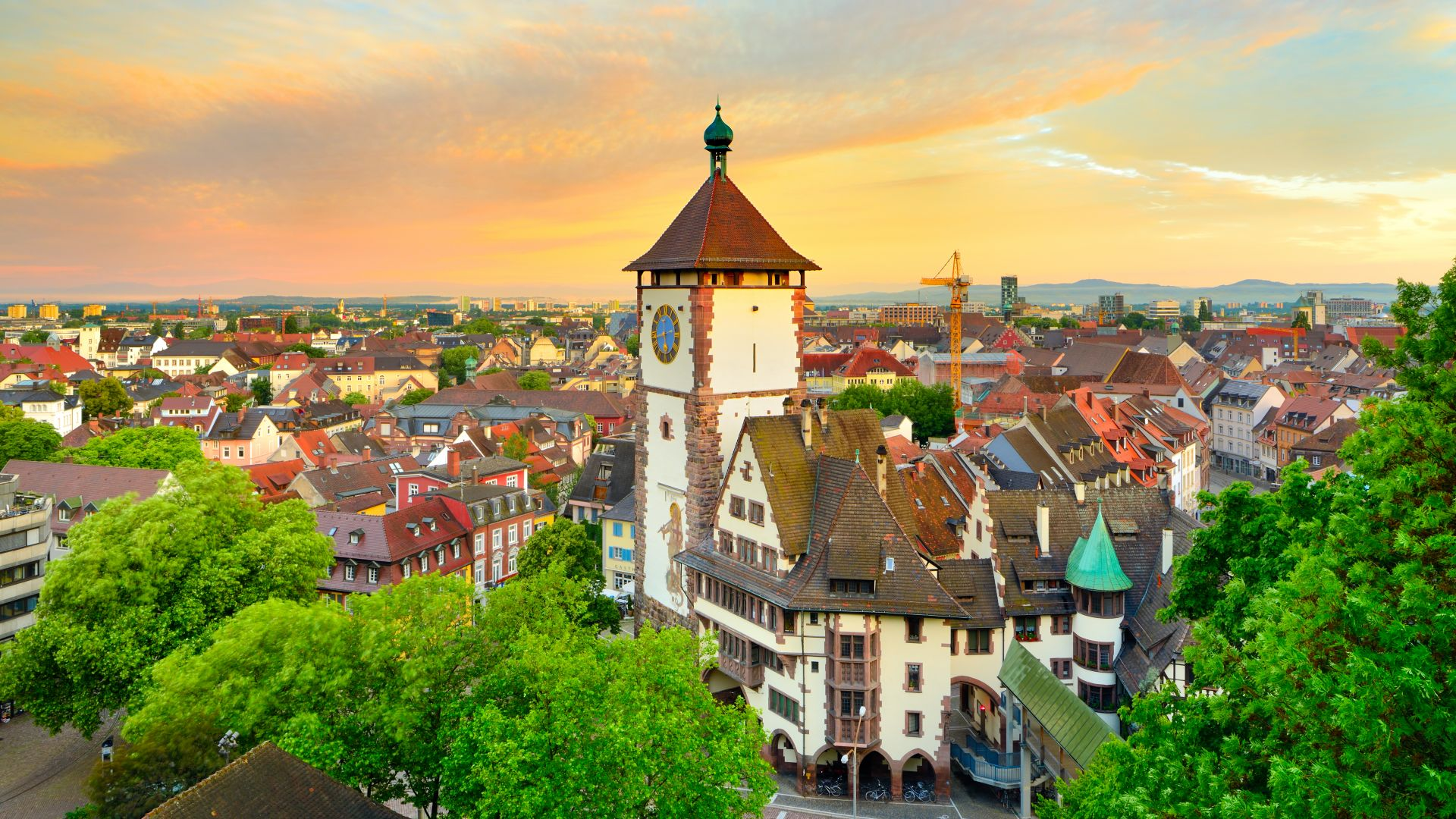 Freiburg im Breisgau: Panoramic view with Schwabentor gate