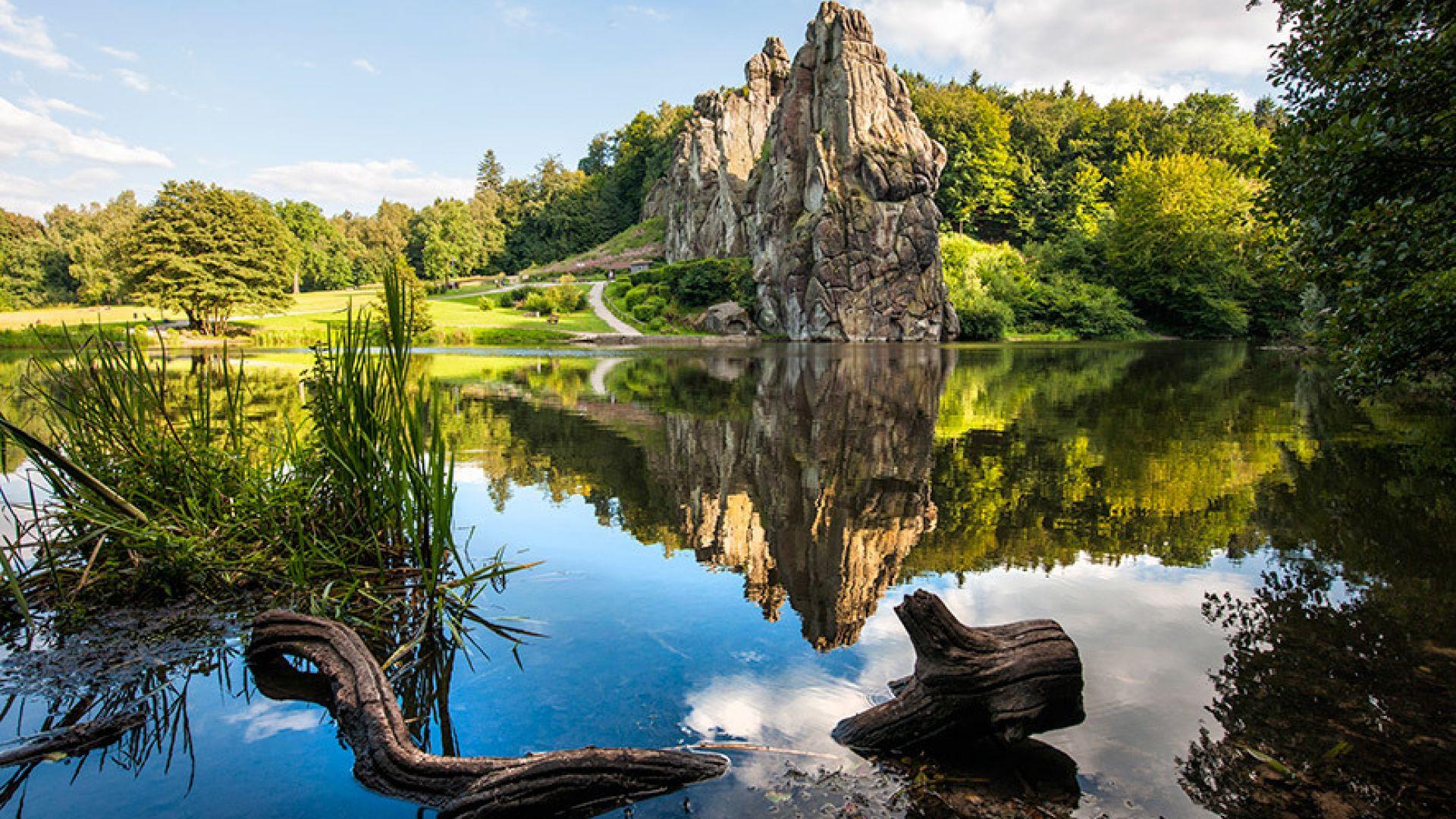 Horn-Bad Meinberg: The rock formation Externsteine in the Teutoburg Forest